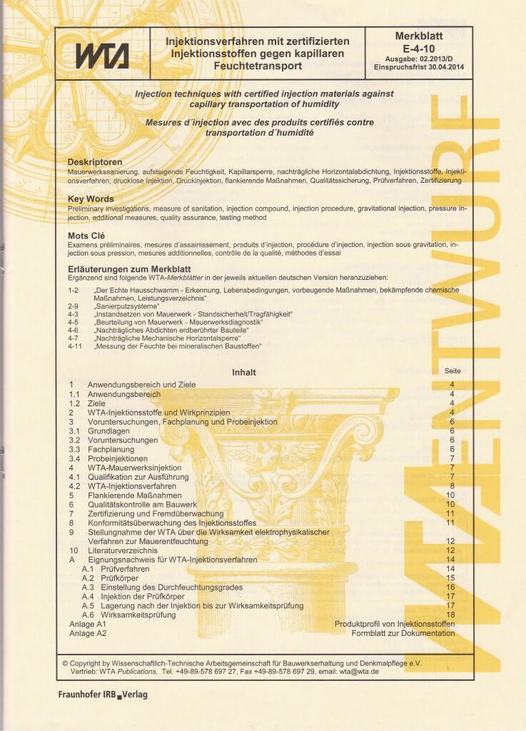 Injektionsverfahren-WTA Richtlinien E-4-10